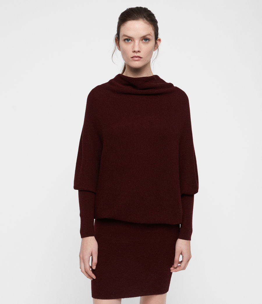 Women's Ridley Cowl Dress (dark_rust_red) - Image 5