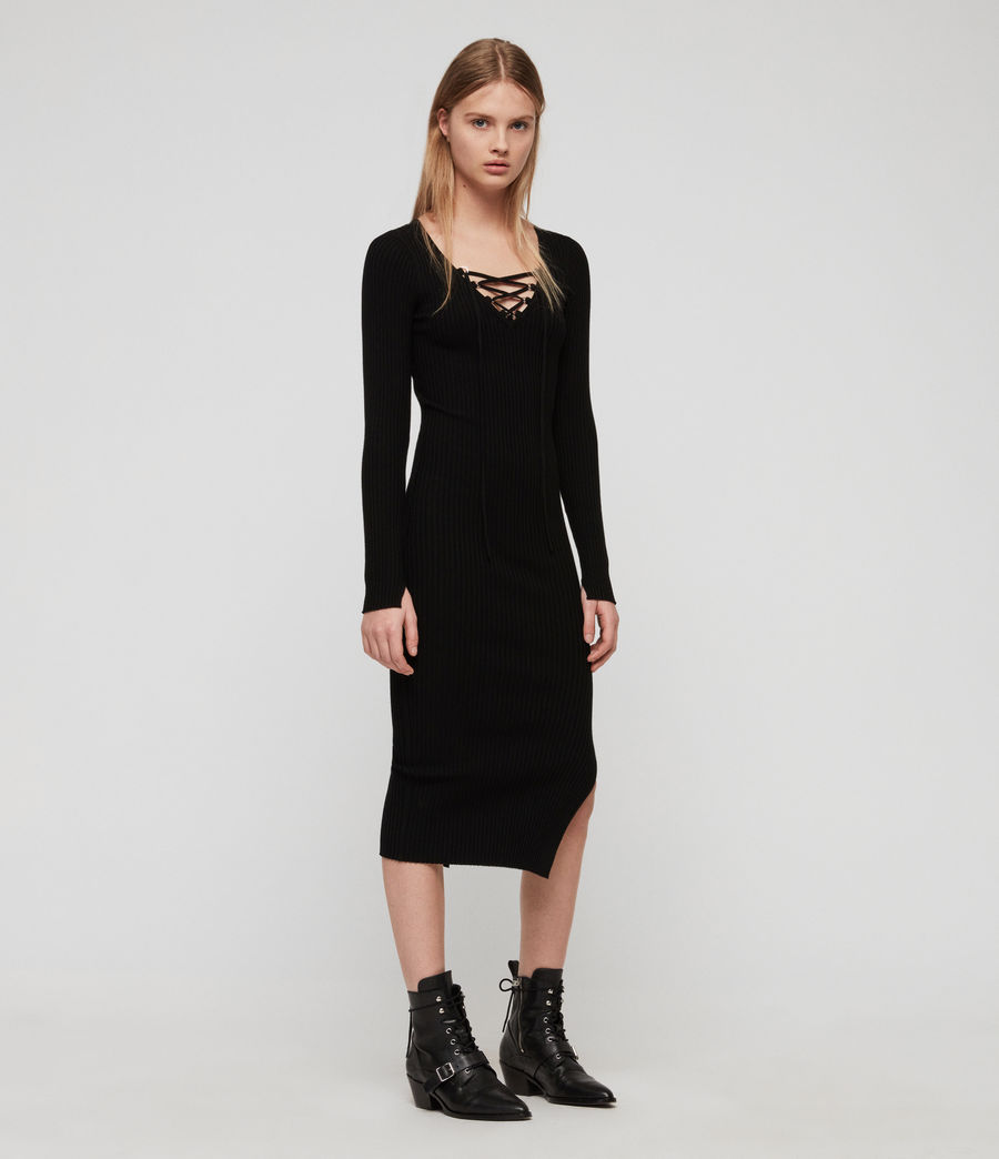 Womens Tamsin Dress (black) - Image 3