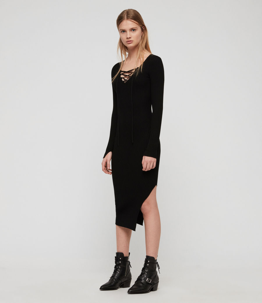Womens Tamsin Dress (black) - Image 4