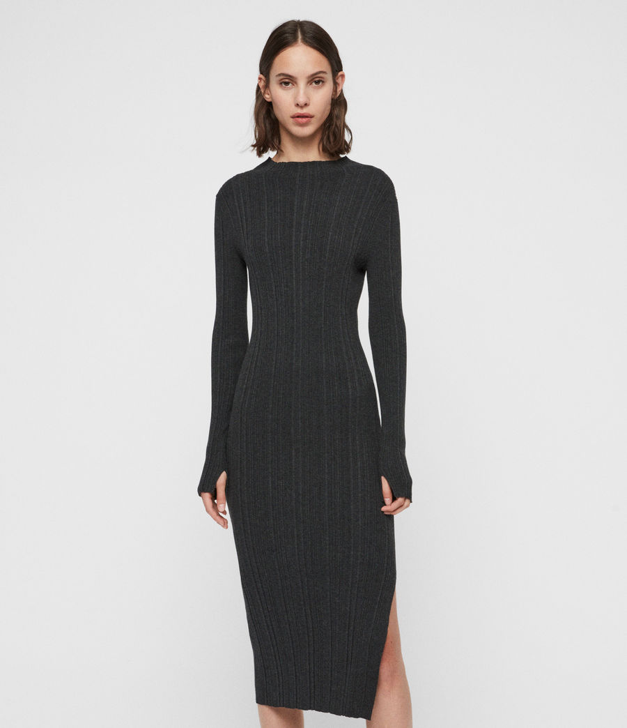 Womens Karla Knit Dress (charcoal_grey) - Image 4