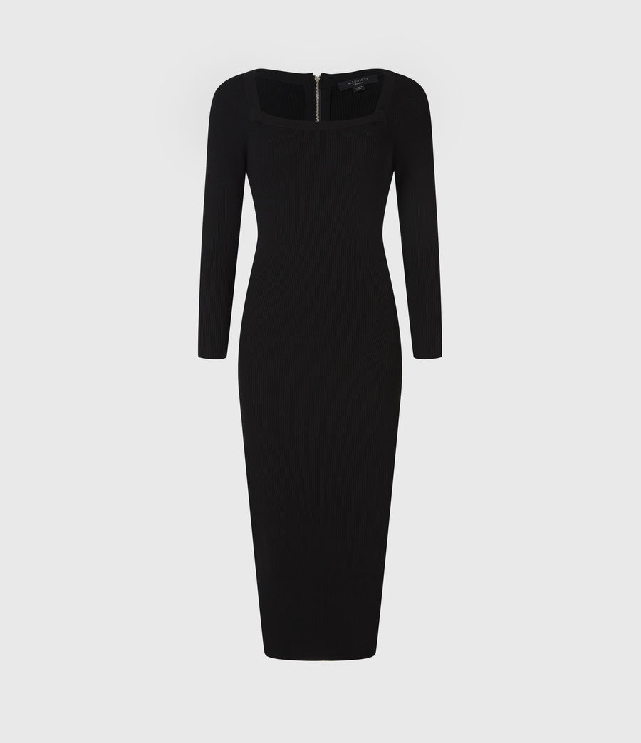 Womens Bardi Rib Dress (black) - Image 2
