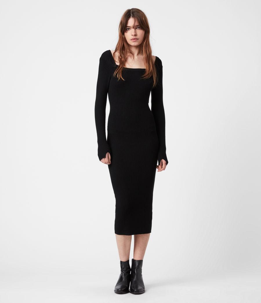 Womens Bardi Rib Dress (black) - Image 7