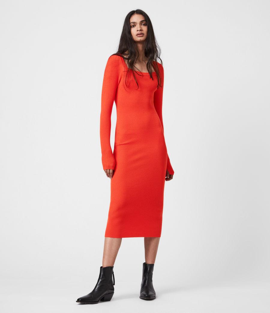Womens Bardi Rib Dress (flame_red) - Image 1