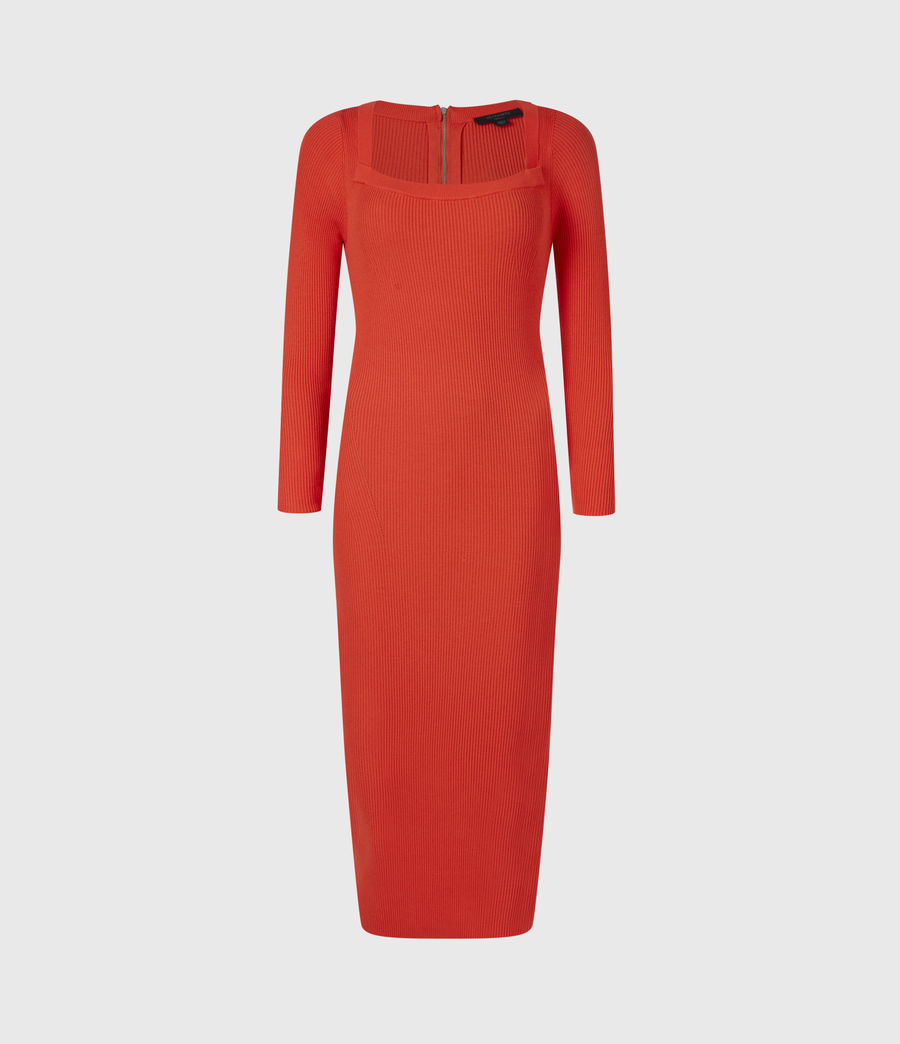 Womens Bardi Rib Dress (flame_red) - Image 2