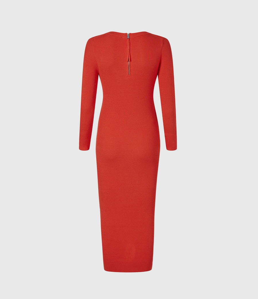 Womens Bardi Rib Dress (flame_red) - Image 3