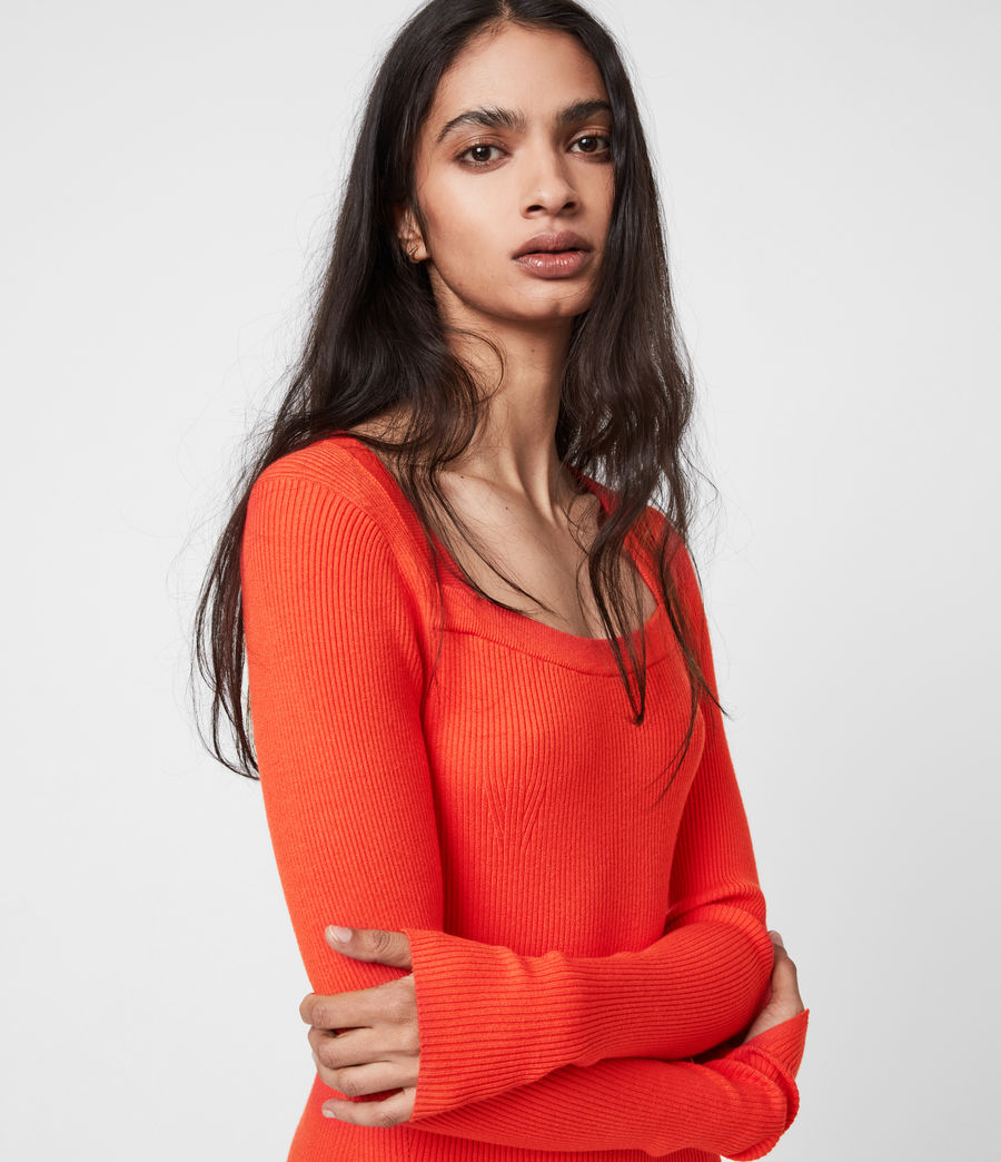 Womens Bardi Rib Dress (flame_red) - Image 4