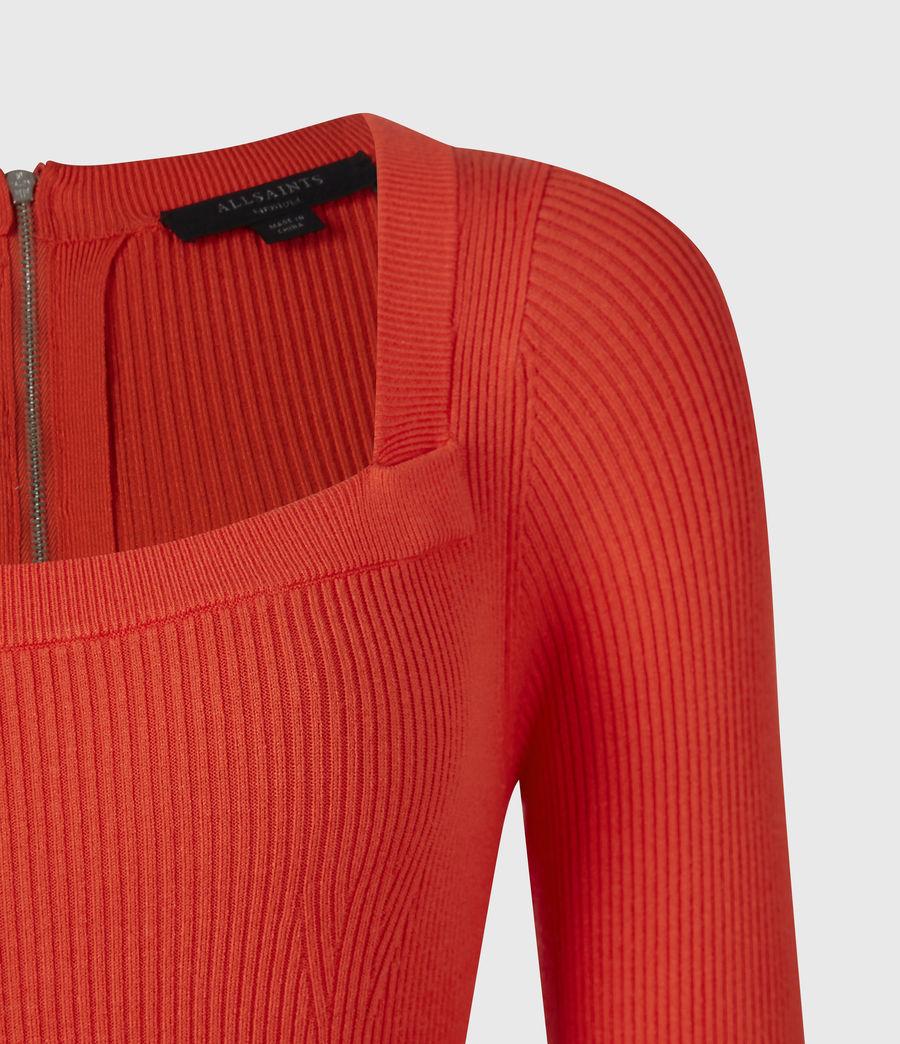 Womens Bardi Rib Dress (flame_red) - Image 5