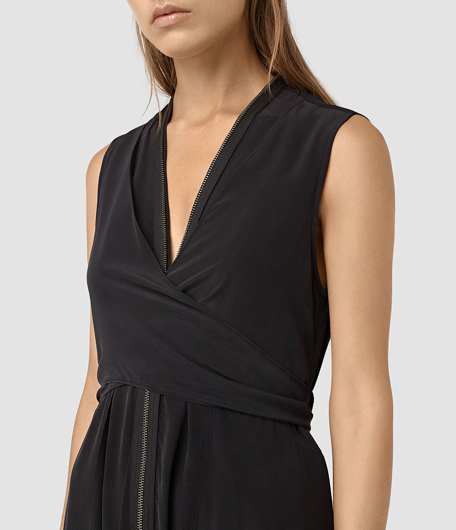 Womens Jayda Silk Dress (black) - Image 2