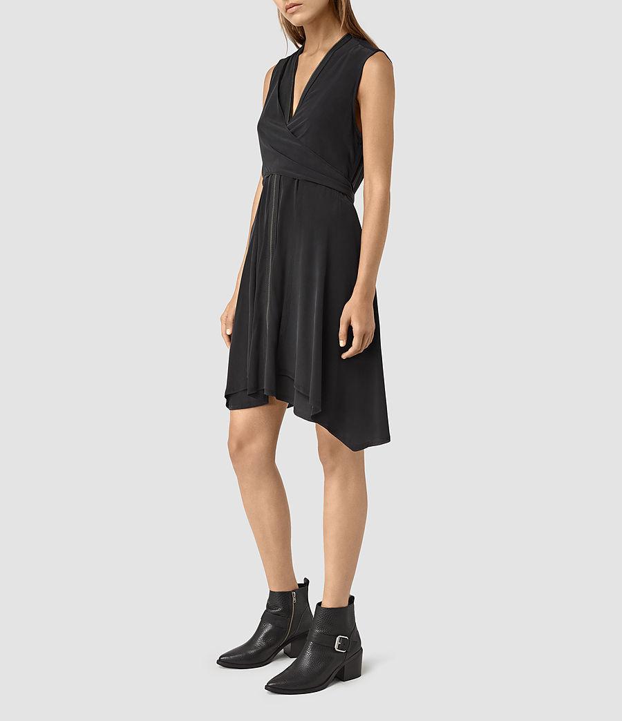 Womens Jayda Silk Dress (black) - Image 4