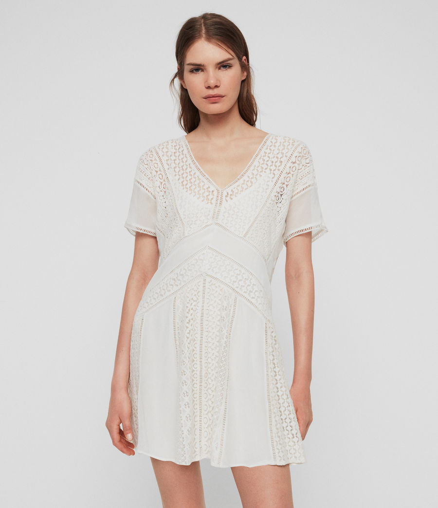 Womens Cindi Lace Dress (oyster_white) - Image 1