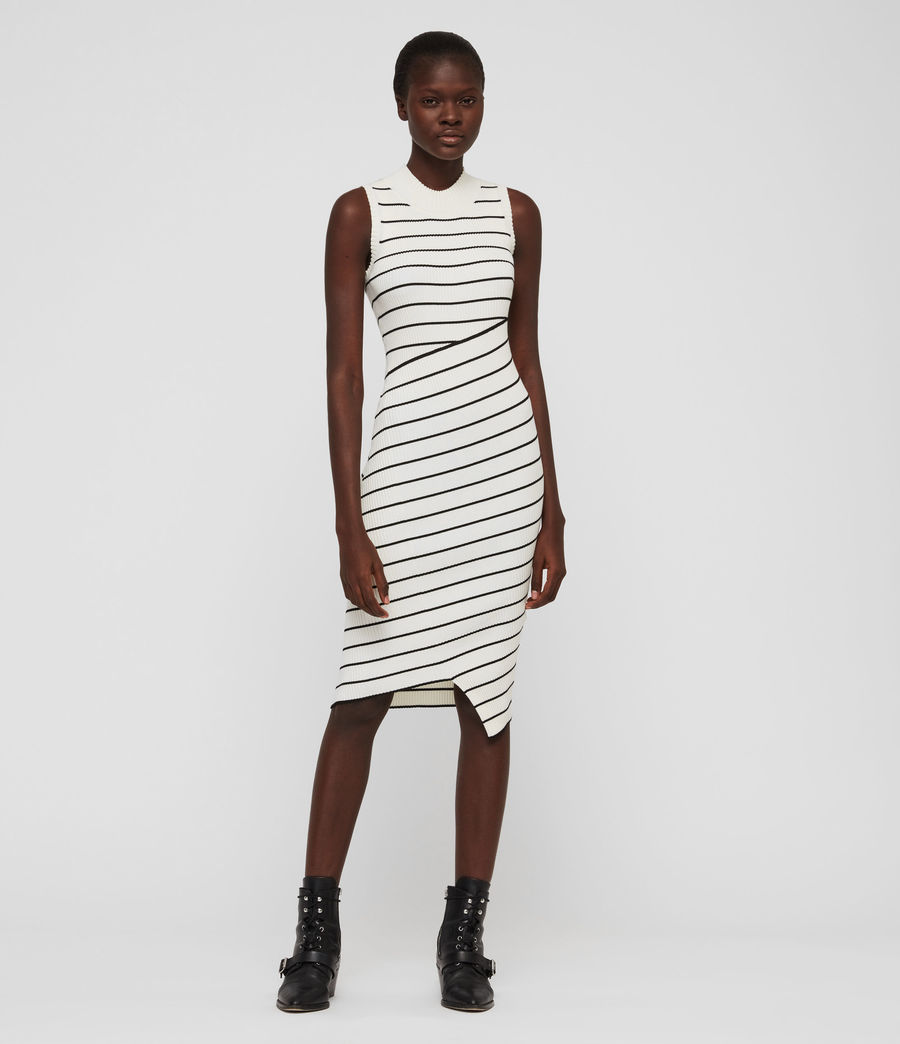 Damen Amara Stripe Kleid (chalk_white_black) - Image 1