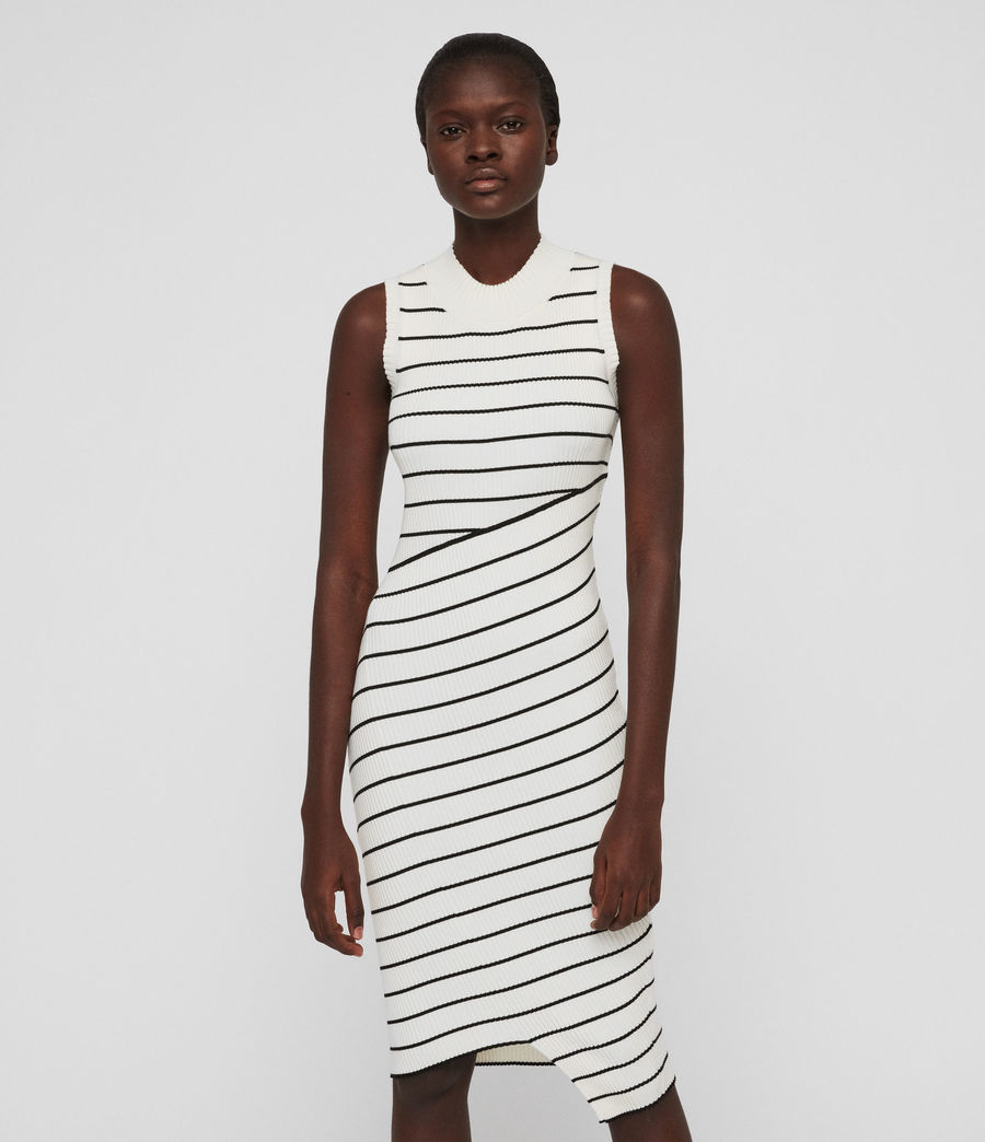 Damen Amara Stripe Kleid (chalk_white_black) - Image 2