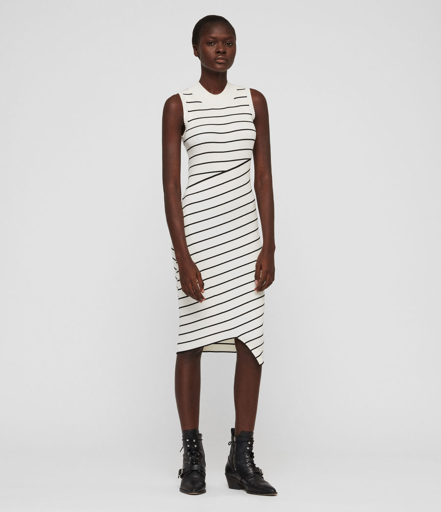 Damen Amara Stripe Kleid (chalk_white_black) - Image 4