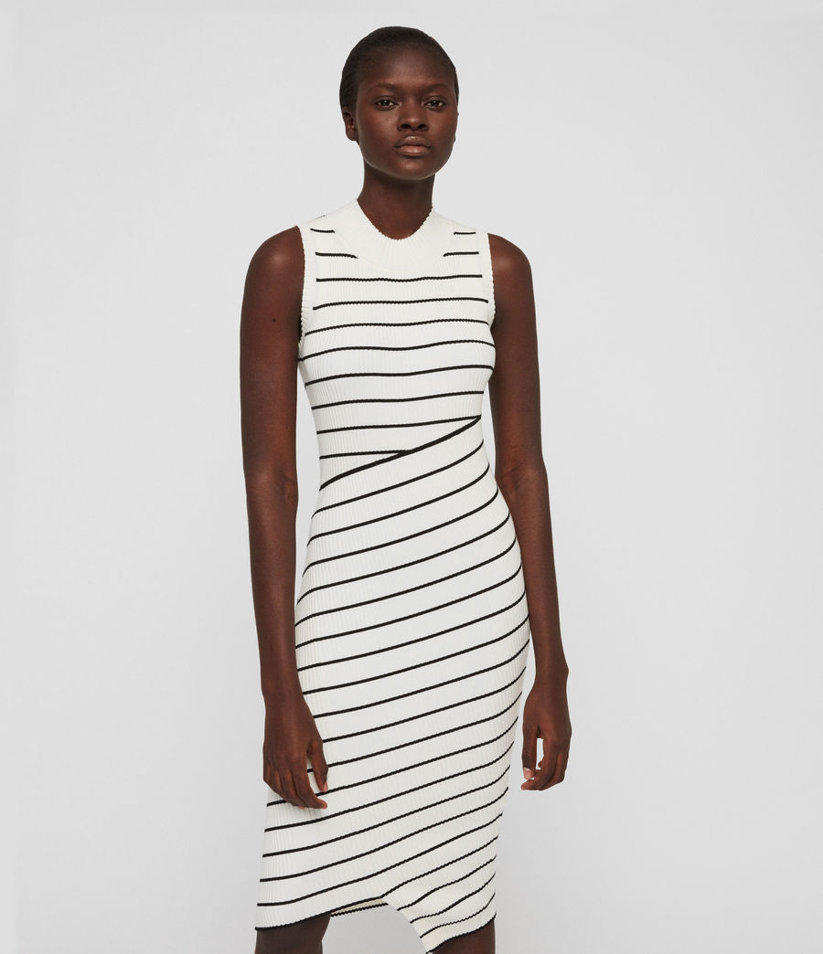 Damen Amara Stripe Kleid (chalk_white_black) - Image 5