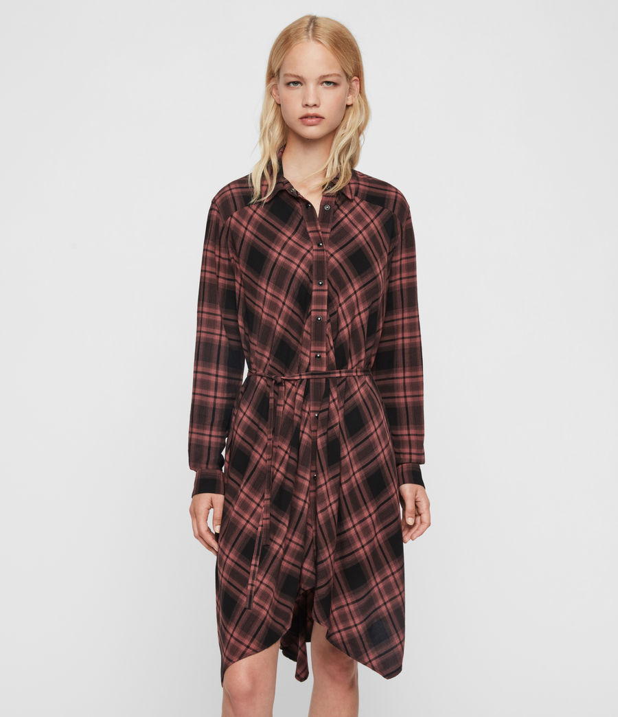 Womens Tala Check Dress (red) - Image 1