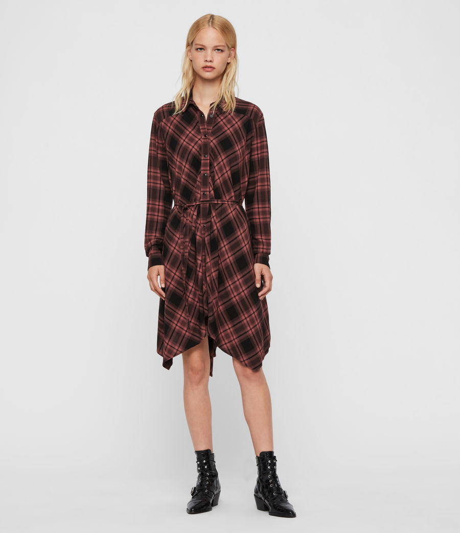 Womens Tala Check Dress (red) - Image 3