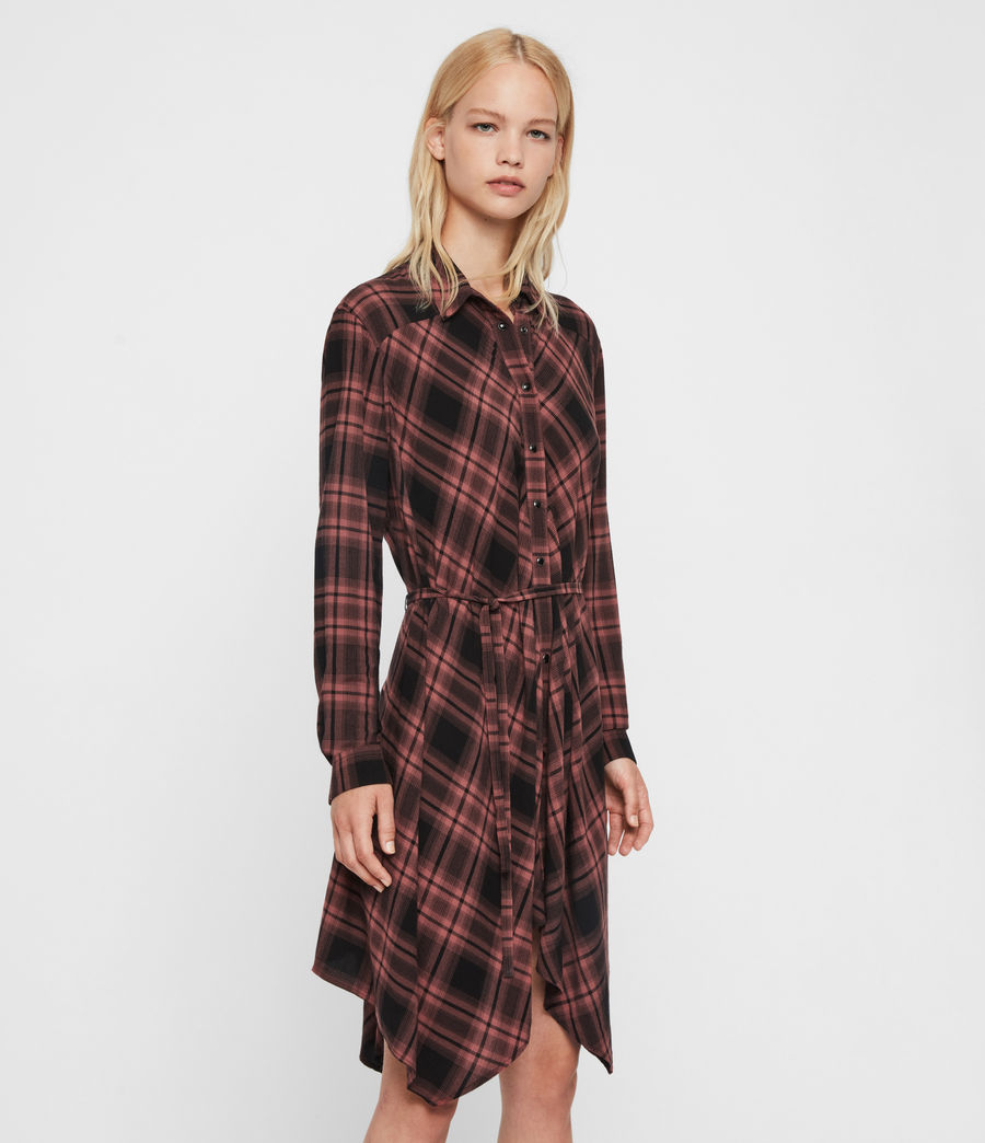 Womens Tala Check Dress (red) - Image 4