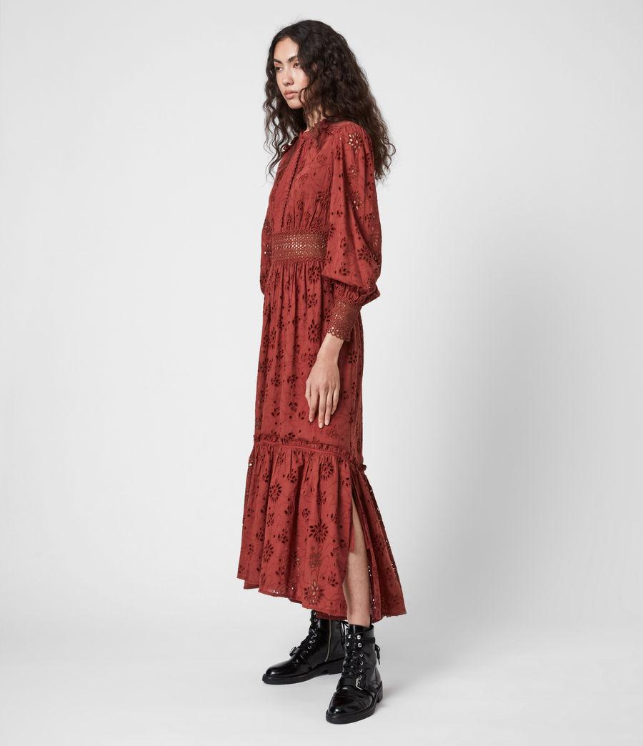 Damen Sia Broderie Kleid (arcane_brown) - Image 1