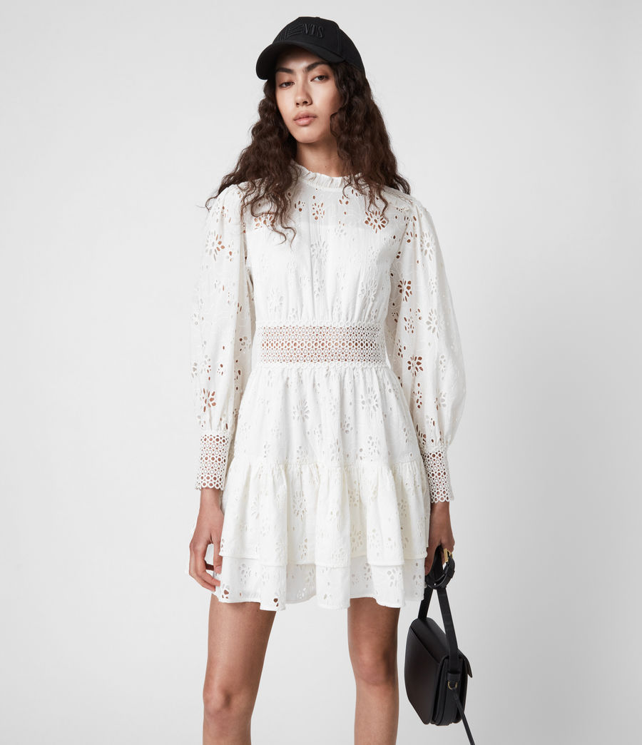 Womens Annasia Broderie Dress (chalk_white) - Image 8