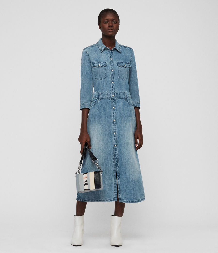 Womens Polly Long Denim Dress (indigo_blue) - Image 1