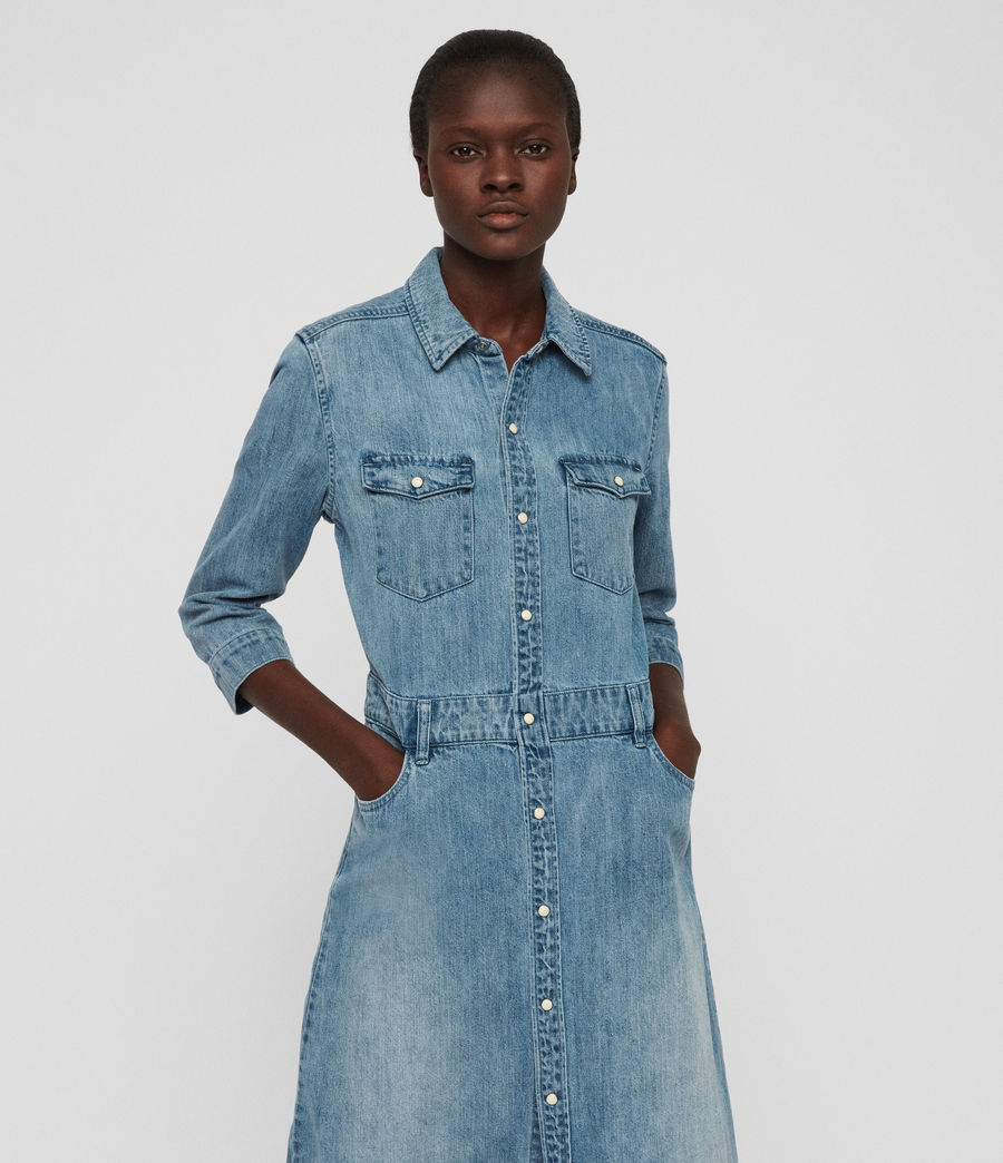 Womens Polly Long Denim Dress (indigo_blue) - Image 2