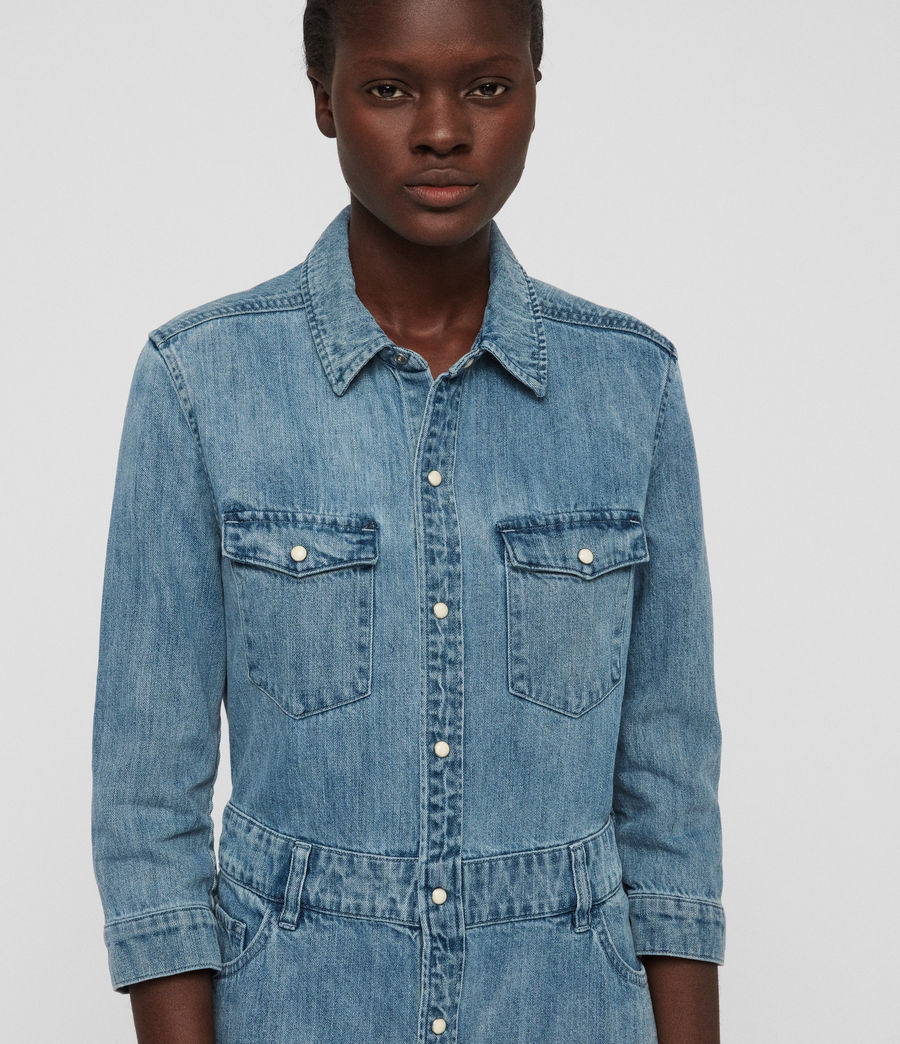 Womens Polly Long Denim Dress (indigo_blue) - Image 3