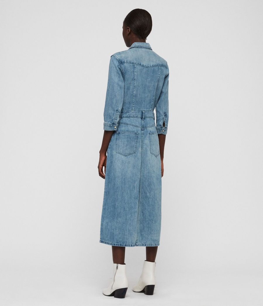 Womens Polly Long Denim Dress (indigo_blue) - Image 6
