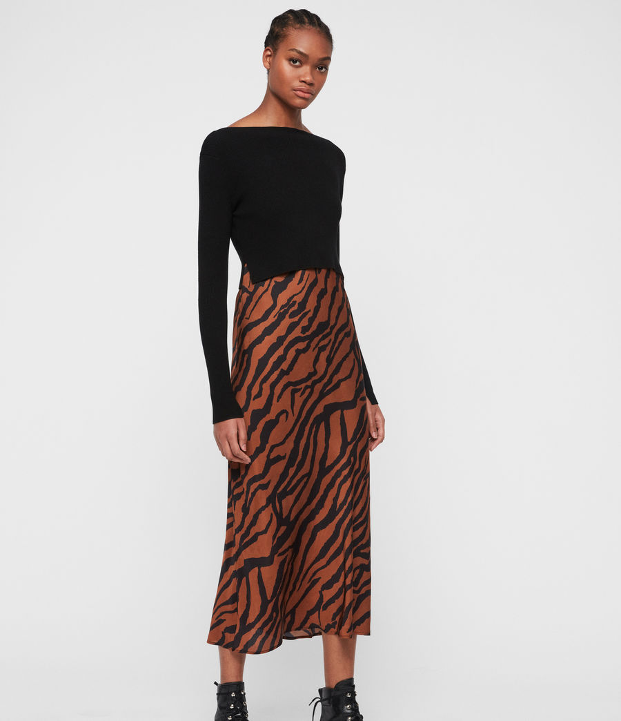 Womens Hera Zephyr Dress (toffee_brown_black) - Image 7