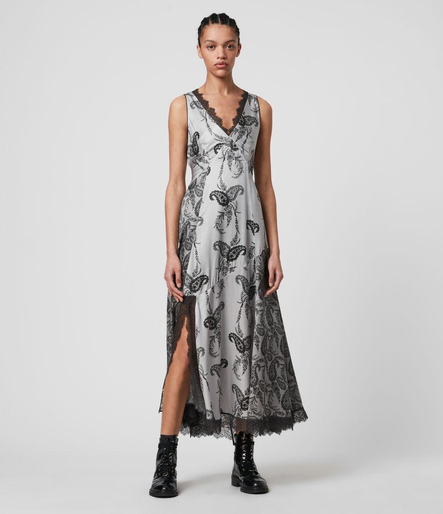 Womens Nysa Kashmir Silk Blend Dress (grey) - Image 1