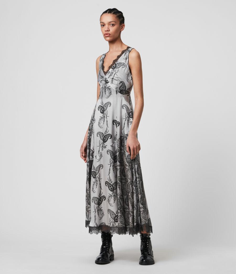 Womens Nysa Kashmir Silk Blend Dress (grey) - Image 3