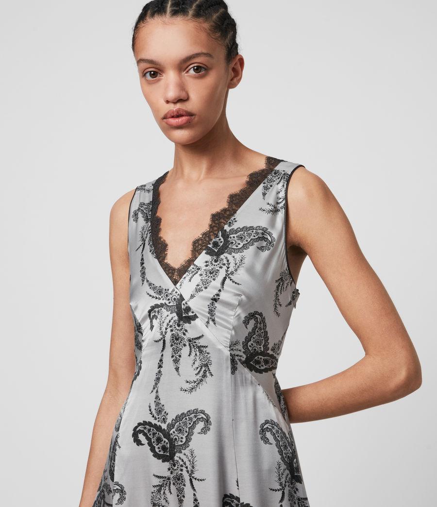 Womens Nysa Kashmir Silk Blend Dress (grey) - Image 5