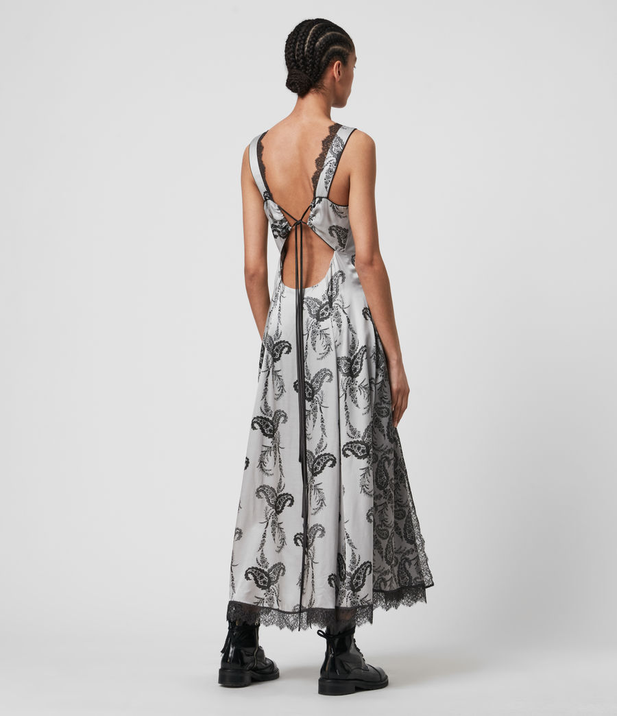 Womens Nysa Kashmir Silk Blend Dress (grey) - Image 6