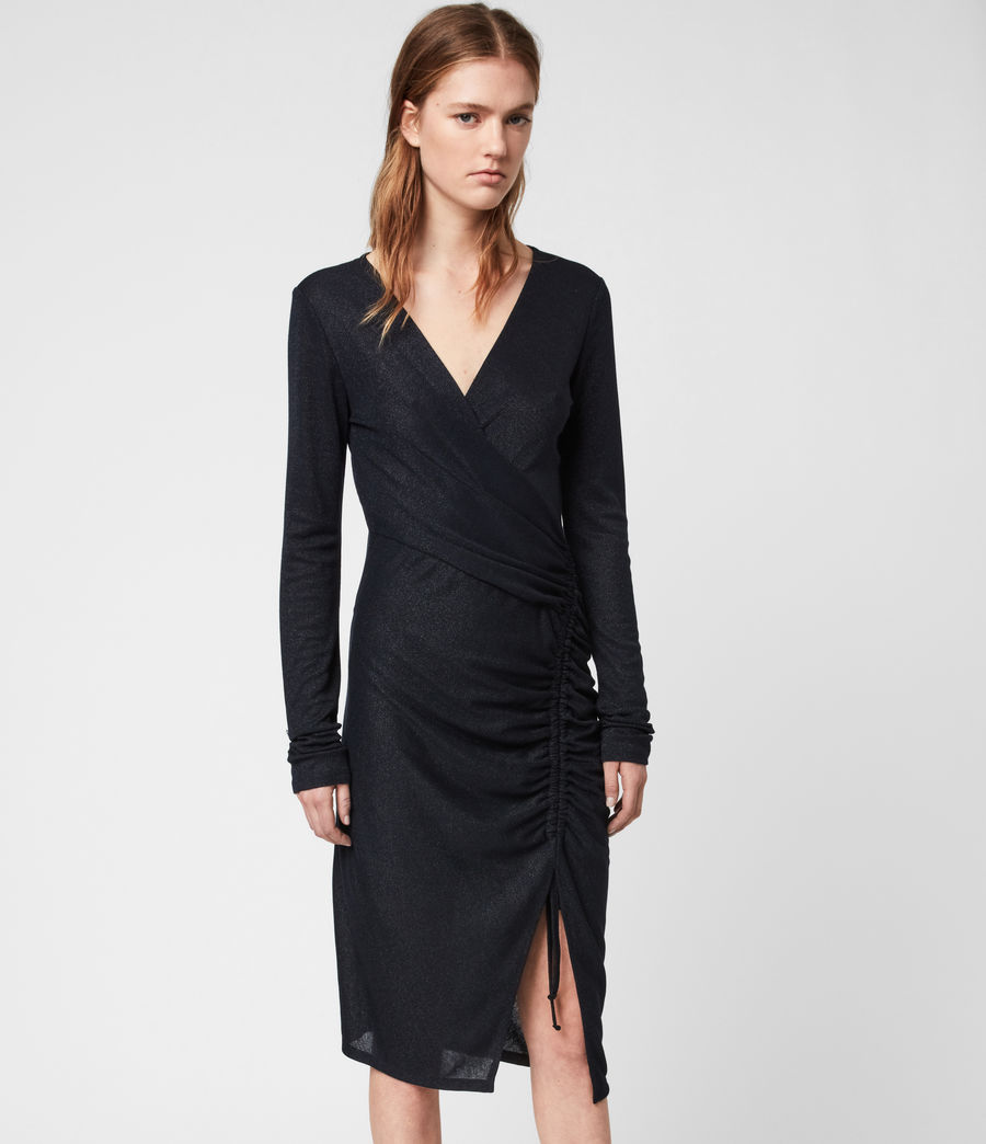 Women's Rina Glitz Wrap Dress (ink_blue) - Image 4