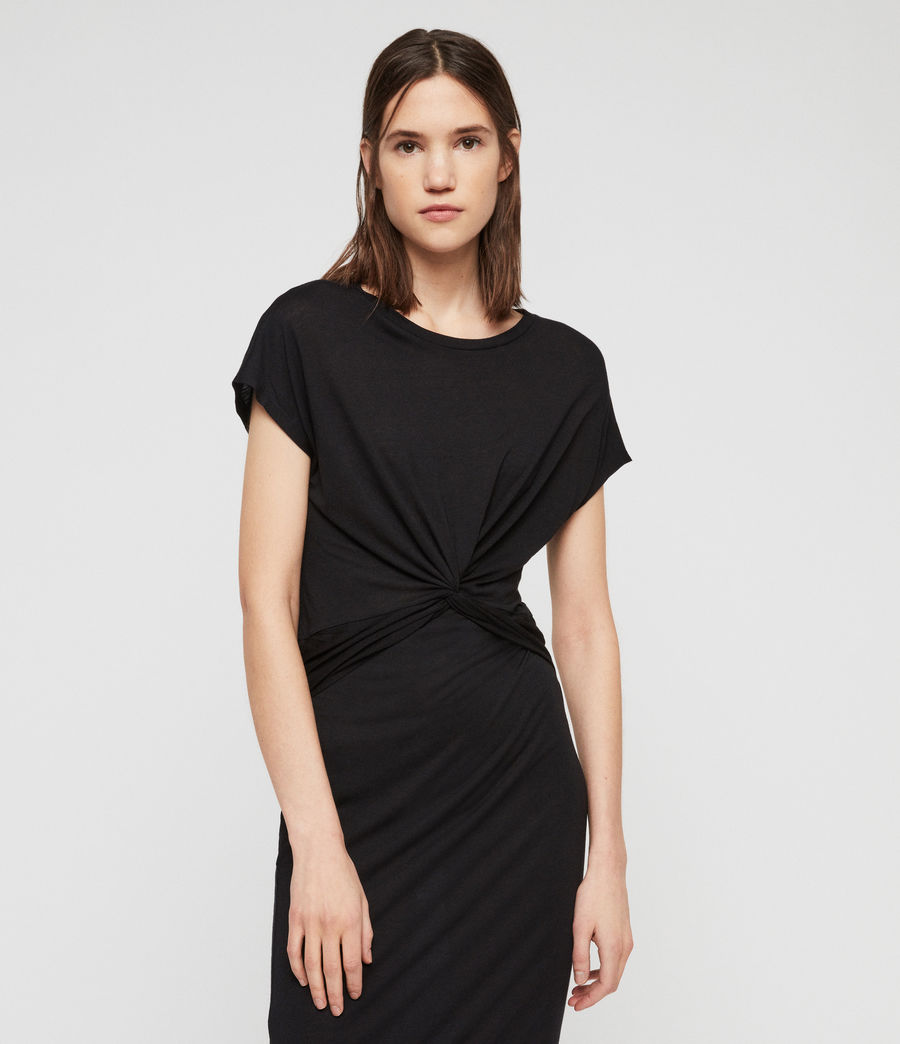 Women's Paloma Drape Dress (black) - Image 4