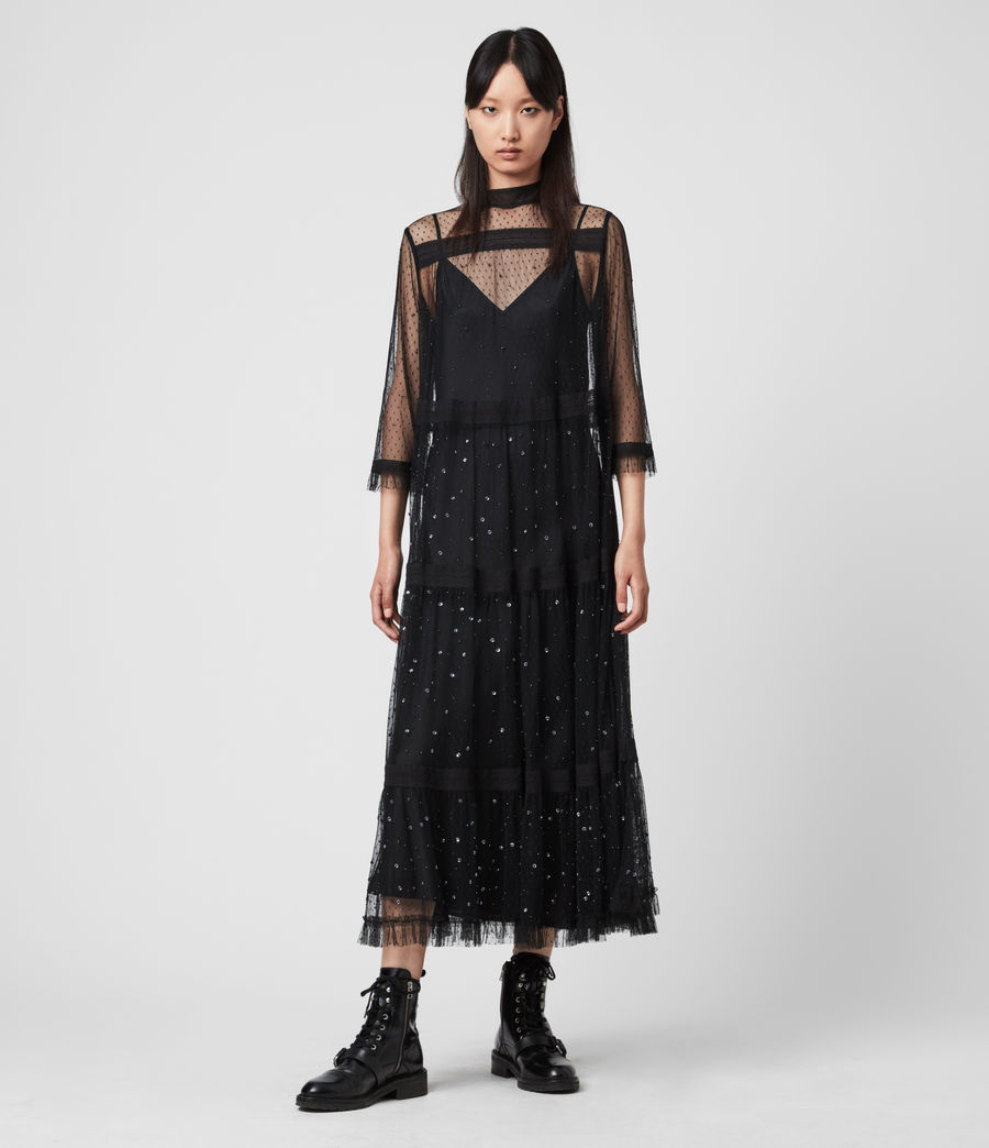 Women's Nima Embellished Dress (black) - Image 3