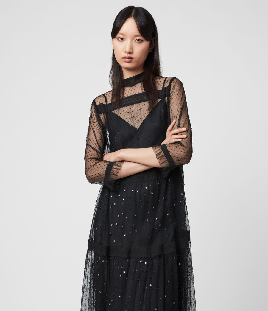 Women's Nima Embellished Dress (black) - Image 4