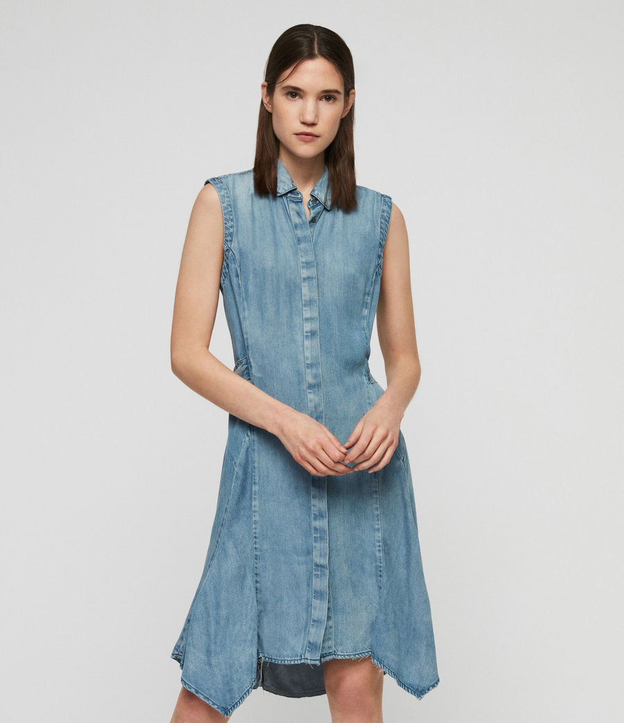 Womens Francis Denim Dress (indigo_blue) - Image 2
