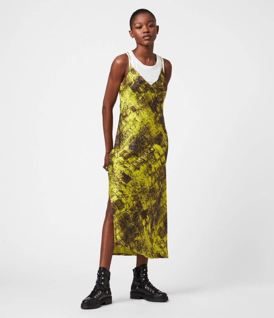 Womens Melody Mirus Silk Blend Dress (lime_green) - Image 1