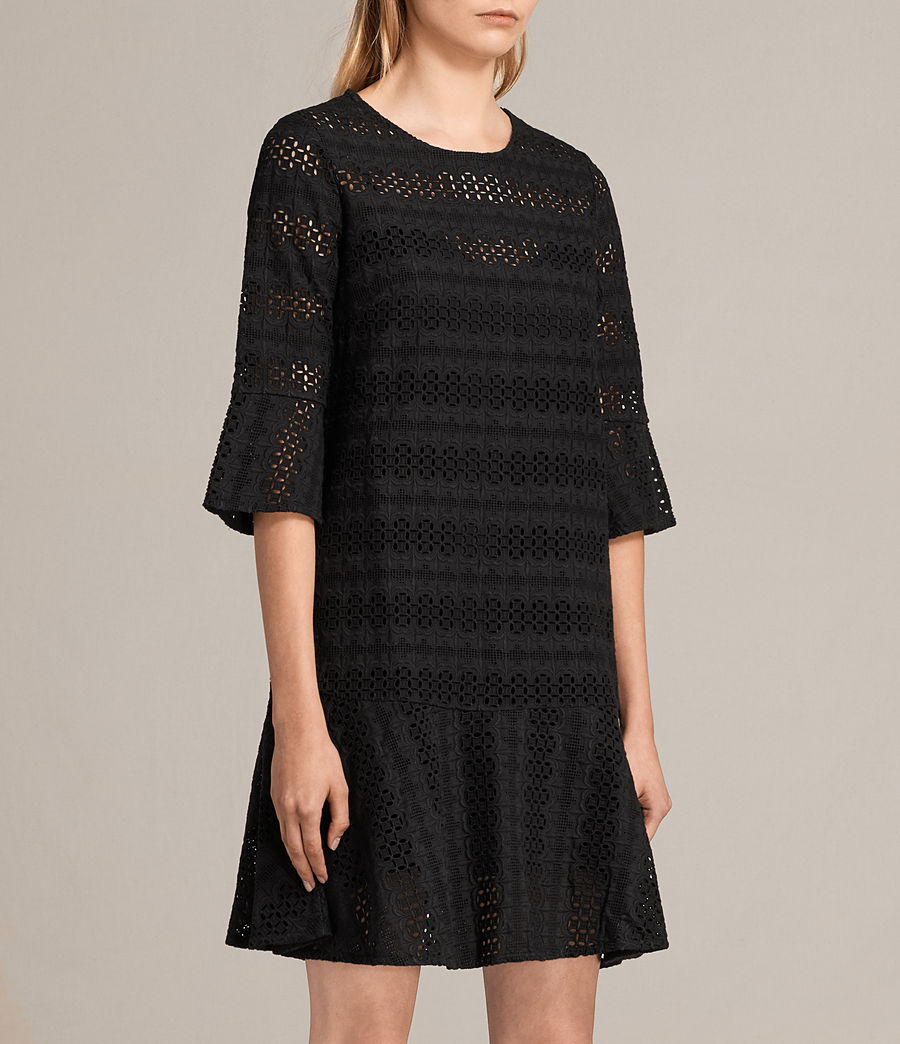 Womens Dakota Ruffle Dress (black) - Image 6