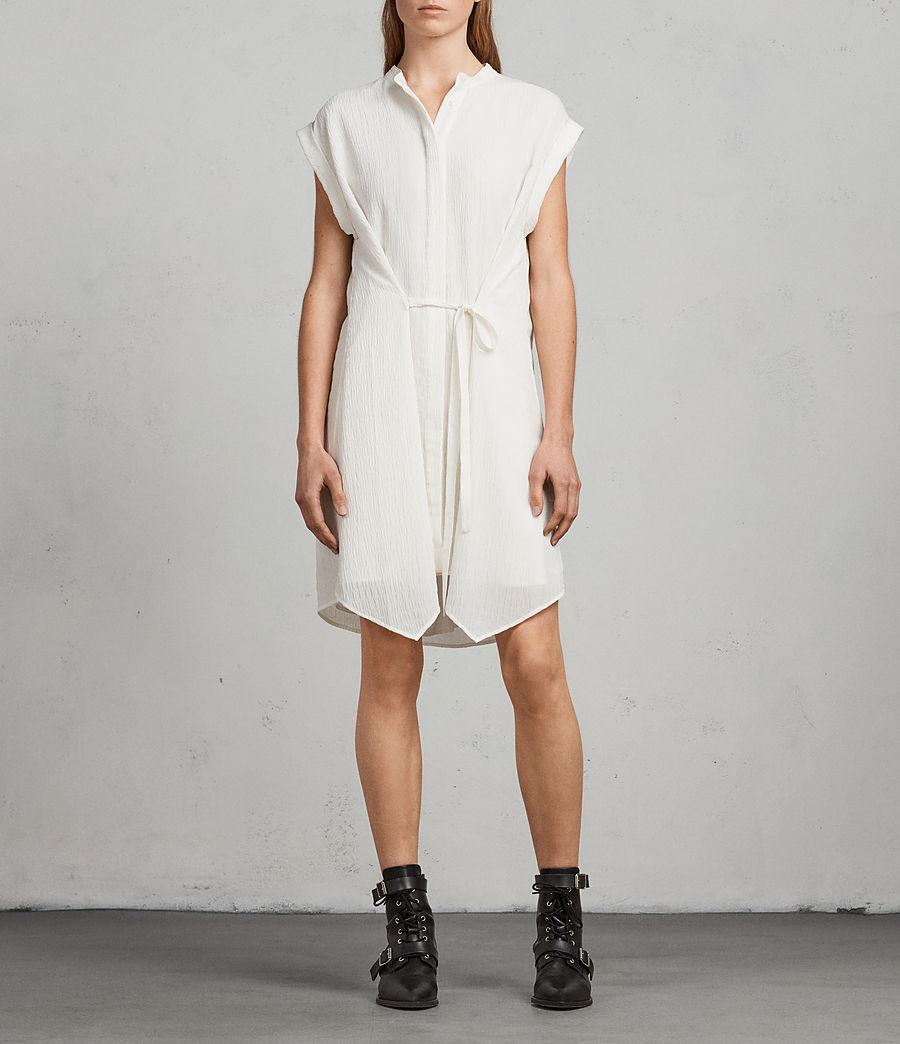 Womens Meda Textured Shirt Dress (chalk_white) - Image 3