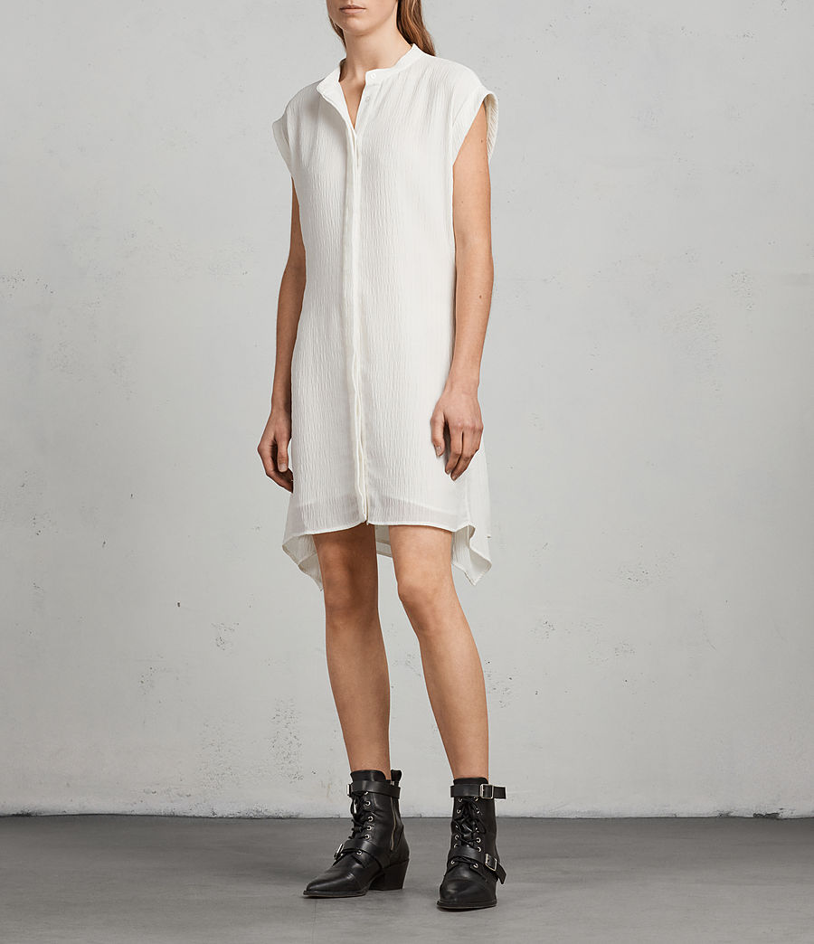 Womens Meda Textured Shirt Dress (chalk_white) - Image 5