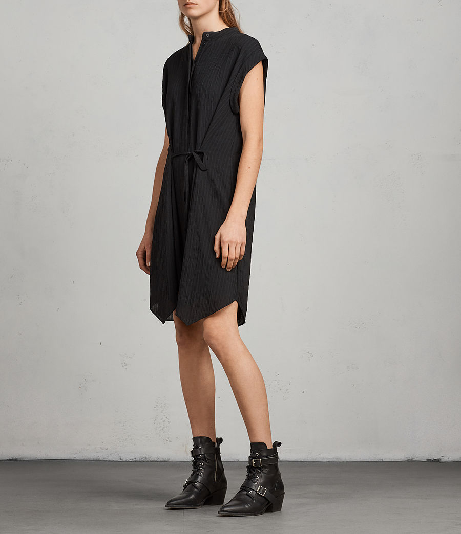 Womens Meda Textured Shirt Dress (black) - Image 1