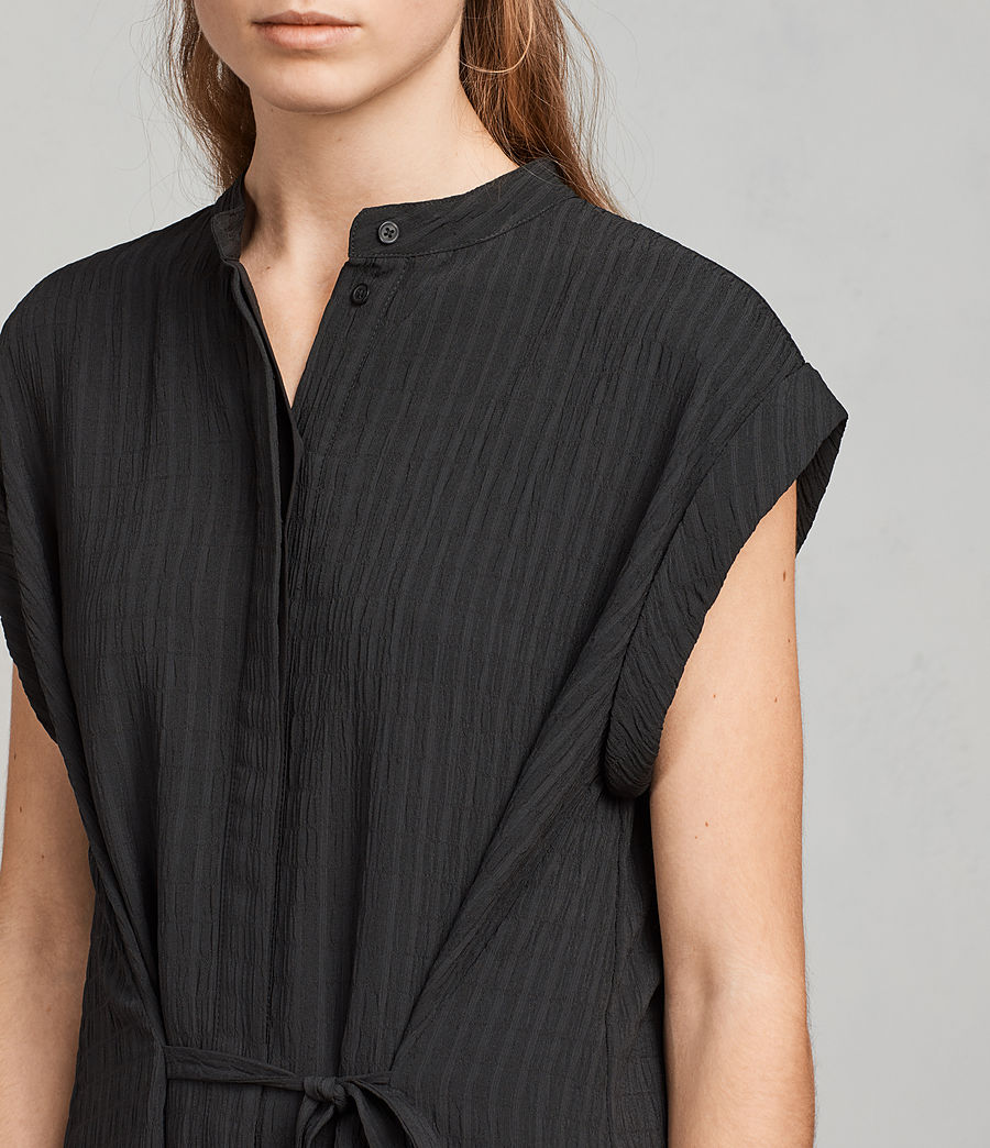 Women's Meda Textured Shirt Dress (black) - Image 2