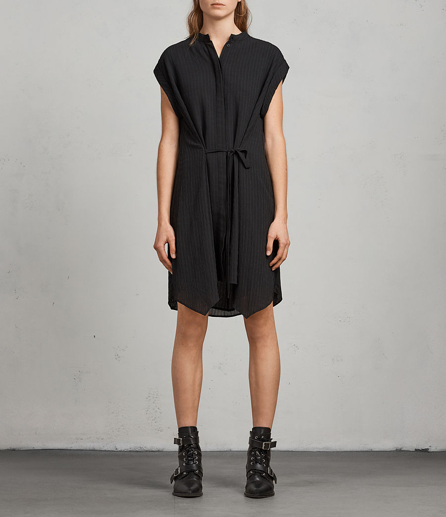 Women's Meda Textured Shirt Dress (black) - Image 3
