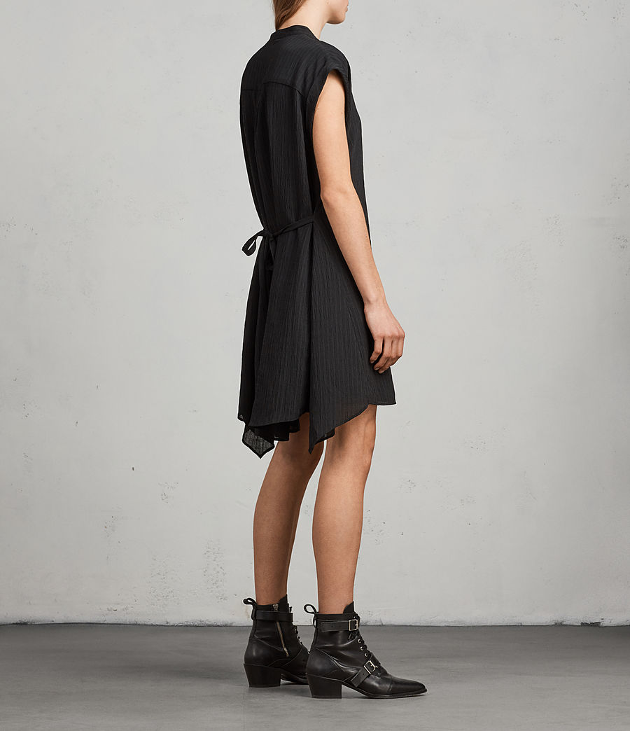 Womens Meda Textured Shirt Dress (black) - Image 5