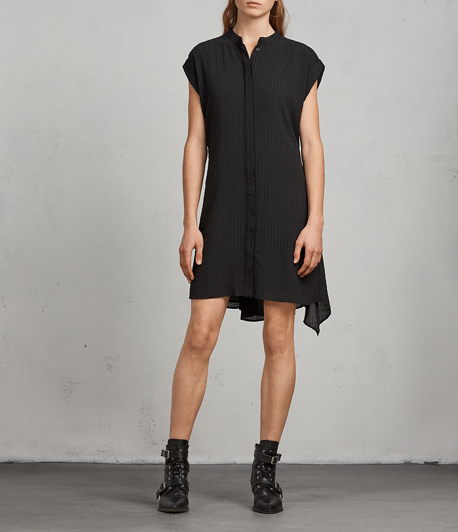Women's Meda Textured Shirt Dress (black) - Image 6