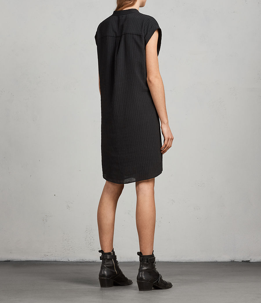 Women's Meda Textured Shirt Dress (black) - Image 7