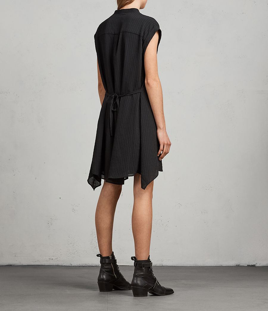 Womens Meda Textured Shirt Dress (black) - Image 8