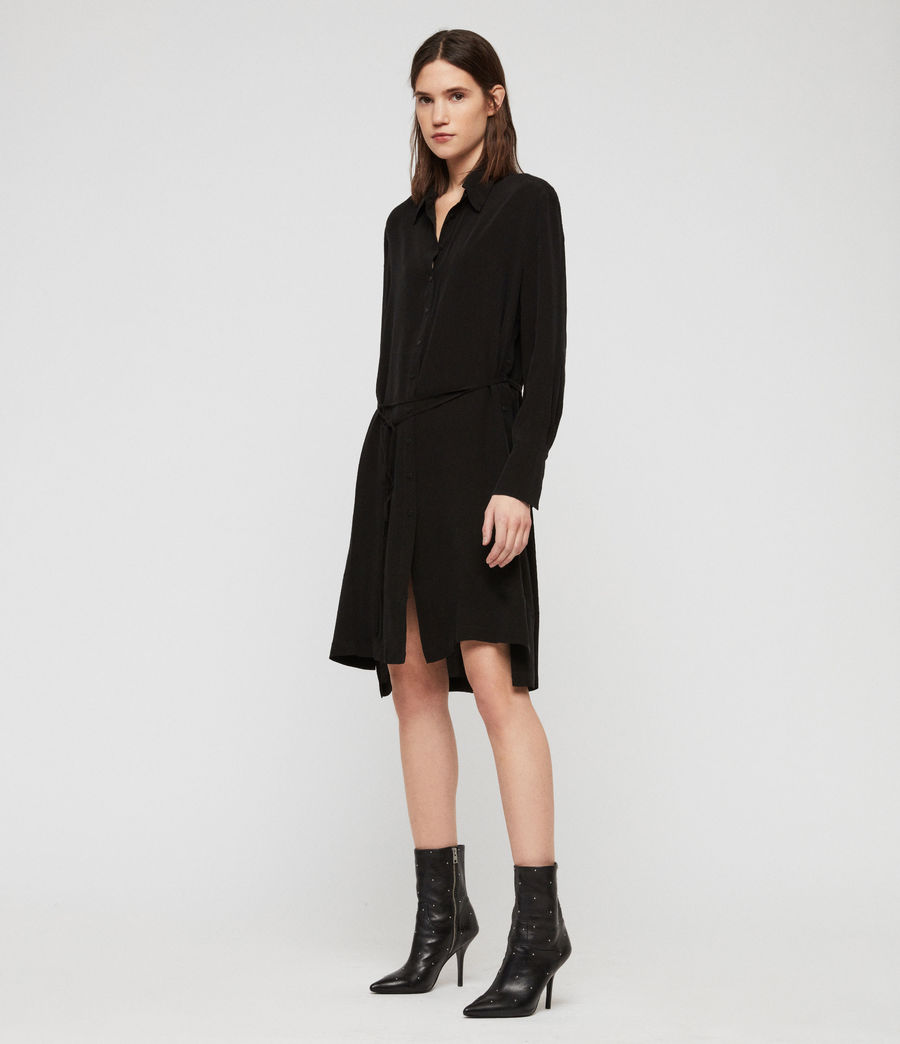 Womens Anya Shirt Dress (black) - Image 1