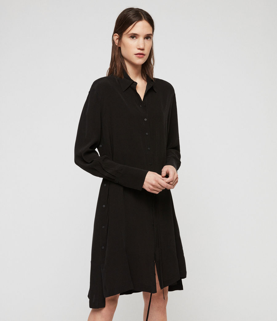 Womens Anya Shirt Dress (black) - Image 2
